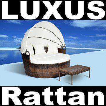 Rattan Sonneninsel Lounge Bett Liege Strandkorb Relaxinsel Korb Möbel Garten  NEU