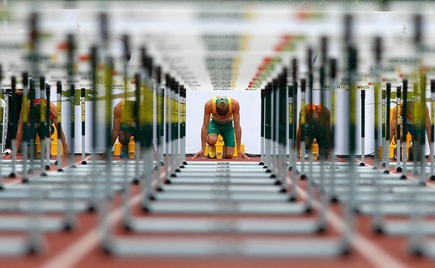 EUGENE, OR - JULY 23: Cedric Dubler of Australia gets set in the blocks for the start of the 110m hurdle portion of the men's decathlon during day two of the IAAF World Junior Championships at Hayward Field on July 23, 2014 in Eugene, Oregon. (Photo by Jonathan Ferrey/Getty Images)
