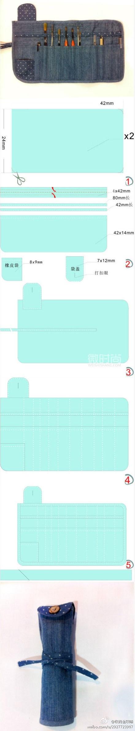DIY pencil case, cosmetic case. Multi pouch