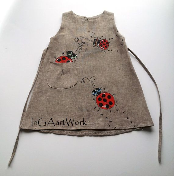 Girls Bugs dress - gray linen dress - Gray flower girl dress - painted dress - unit work - Hand painted -ON ORDER ONLY - children clothing