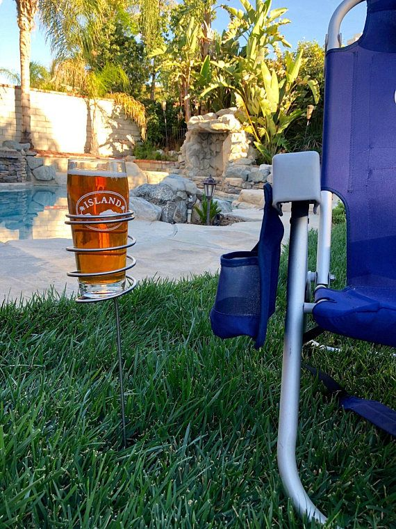 Outdoor drink holder, Beer glass holder, outdoor gift  These stainless steel beer holders are handmade by my husband. Designed as an accessory for outdoor beer drinking, tailgating, camping, backyard, beach, or concerts in the park. Perfect way to secure your favorite beverage and