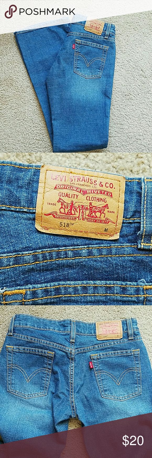 Levis superlow stretch boot cut jean New without tags boot cut Levis jeans. These are supposed  to have a faded worn in look. Levis 518, size 3 in juniors Jeans Boot Cut