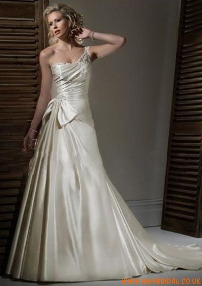 Satin Fashion Sheer One shoulder with Rouched Bodice and A line Skirt 2011 Hot Sell Wedding Dress 0365