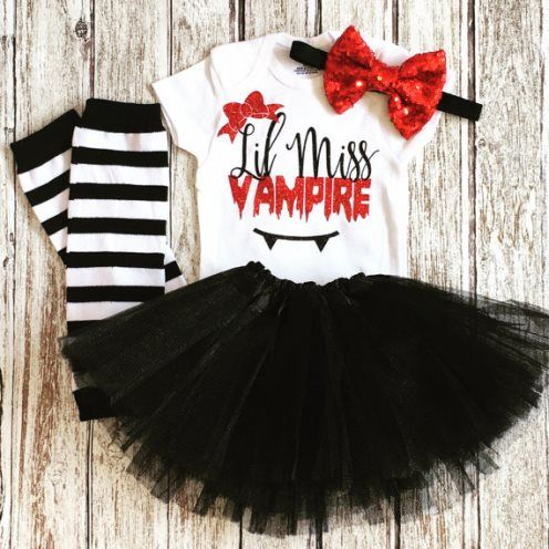 Lil Miss Vampire Baby Girl Halloween Costume Tutu Outfit Set-Baby Girl First…