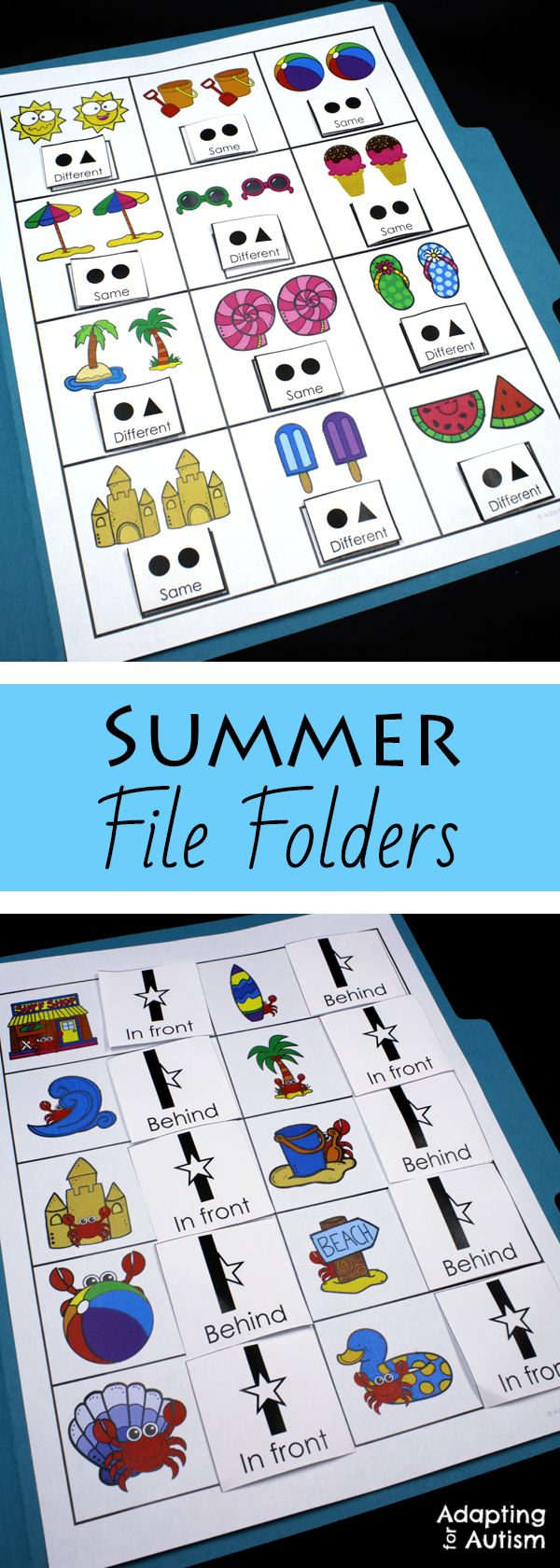 This summer file folder activity pack is full of basic concepts practice for your special education or speech therapy students. Includes 10 concepts and 2 levels each including many visual supports for your students with autism.