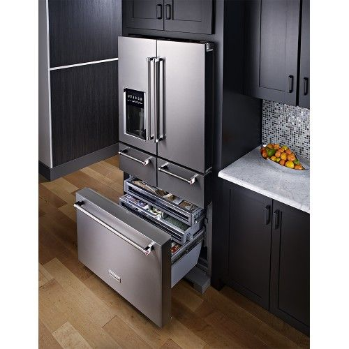 Kitchenaid Black Stainless Steel Counter Depth French Door: KitchenAid - 25.8 Cu. Ft. 5-Door French Door Refrigerator - Stainless Steel