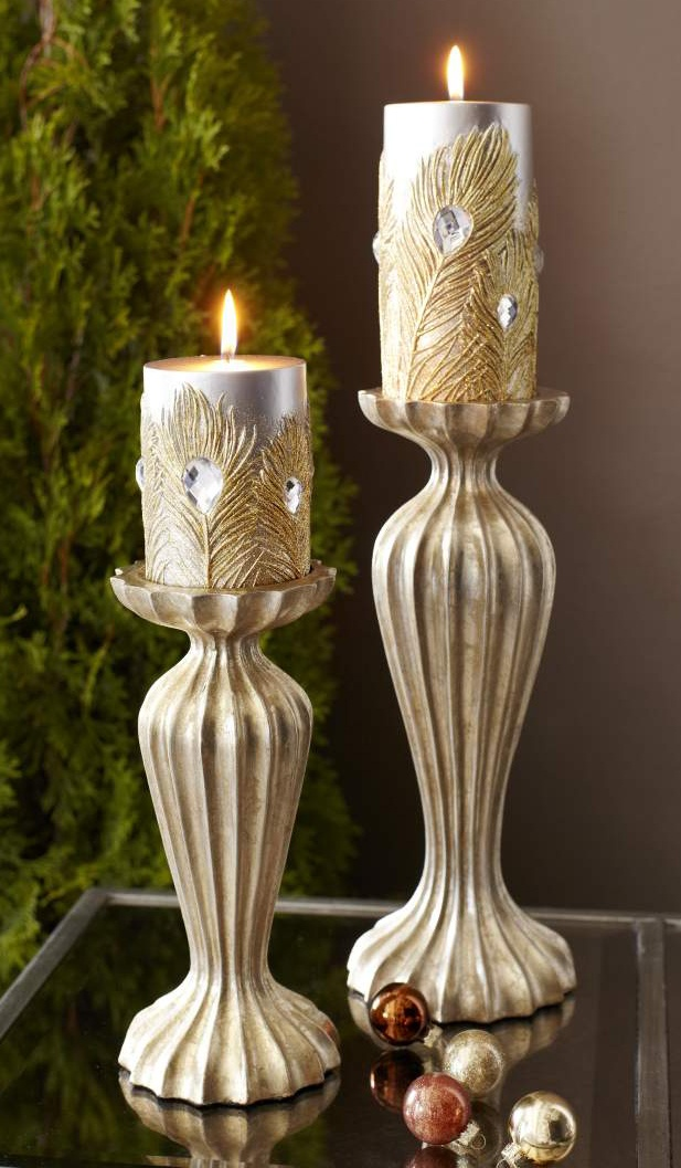Pier 1 Gold Ribbed Candleholders add unique glamour
