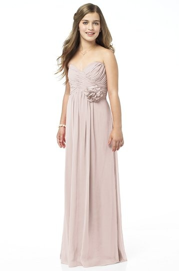 Dessy - Pale Pink Junior Bridesmaid Dress Lux Chiffon