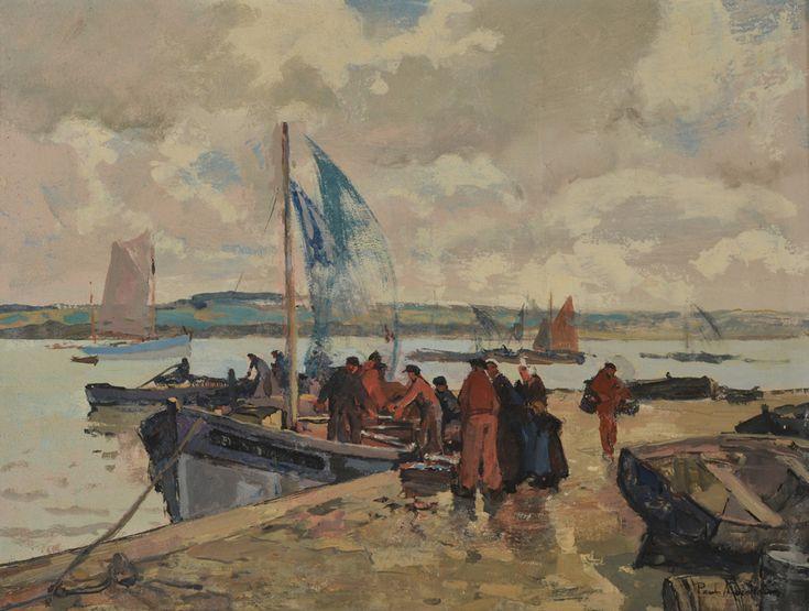 Paul Morchain 1876-1939 La vieille cale.Douarnenez.matin  hst 50x65