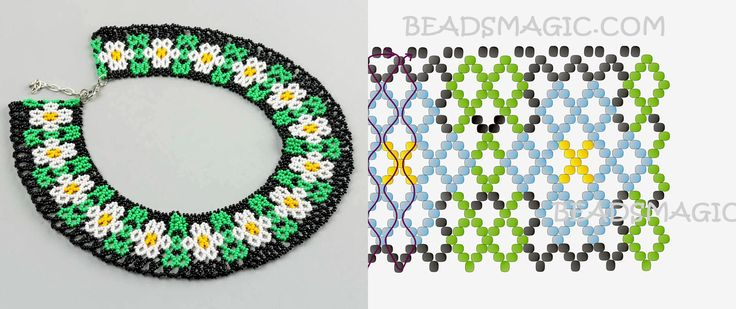 Free pattern for necklace Chamomile
