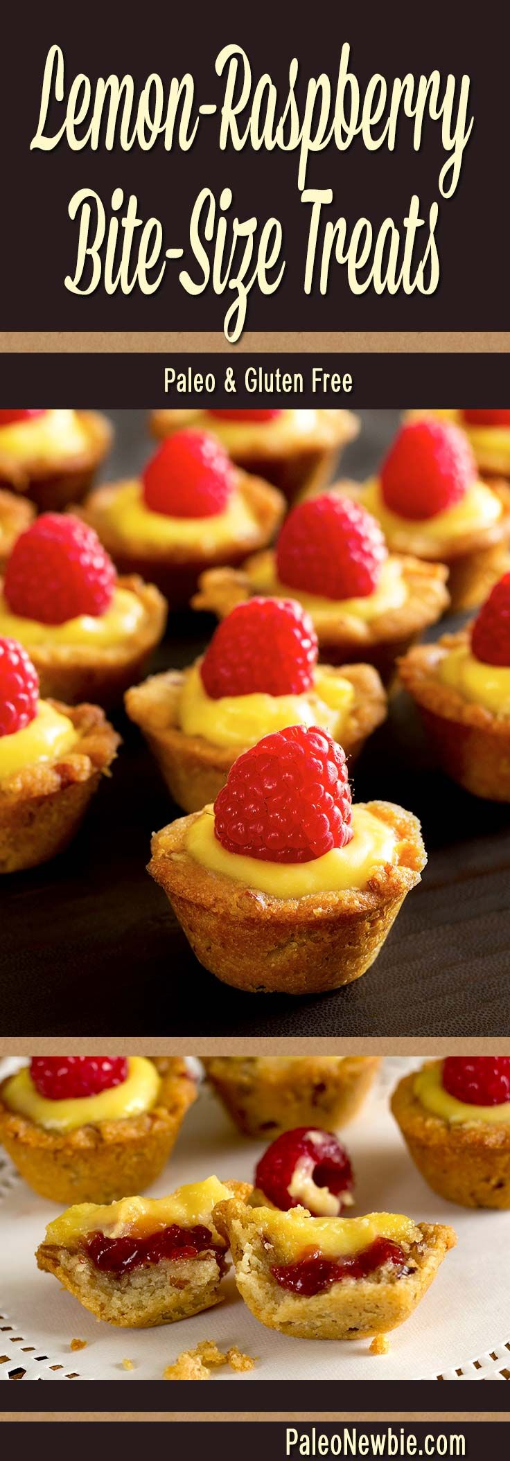 Lemon custard and raspberry jam in a pecan-based cup. Elegant mini-lemon confections with big, bold flavors! Perfect for a party tray or luncheon dessert.