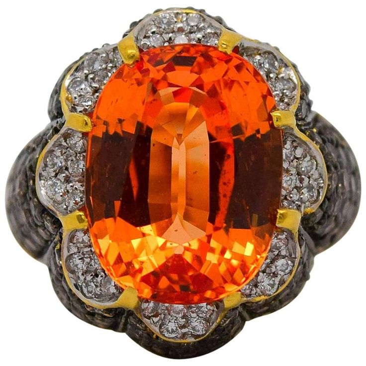 Fine AGL11.12 Carat Orange Sapphire Diamond Gold Ring | From a unique collection of vintage cocktail rings at https://www.1stdibs.com/jewelry/rings/cocktail-rings/