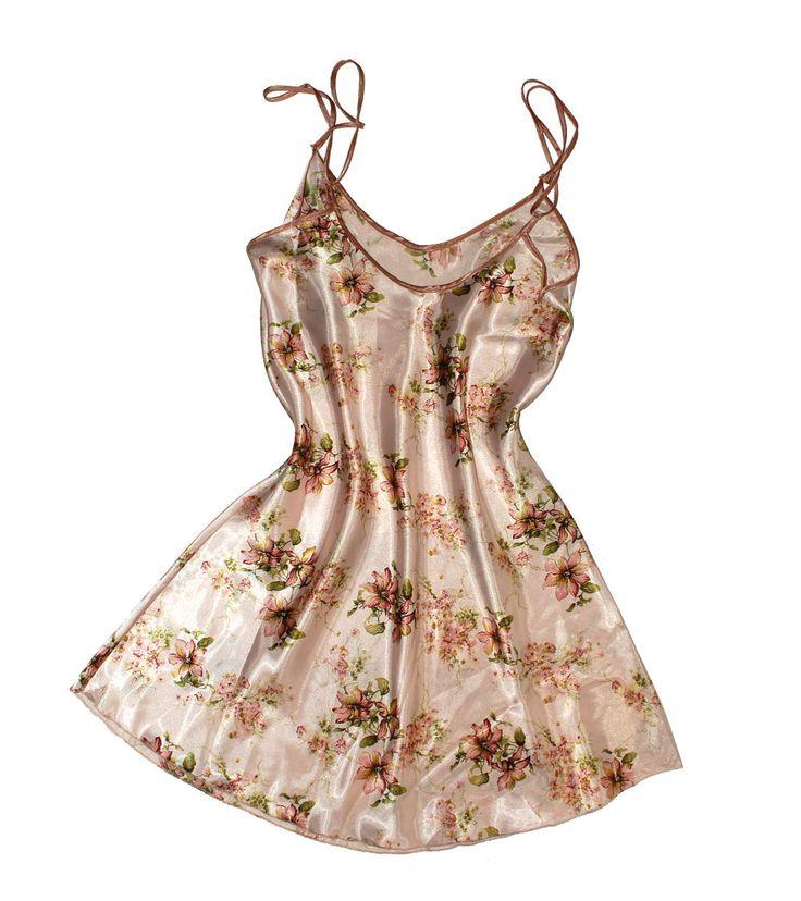 Сорочка из шелка (коричневые цветы)