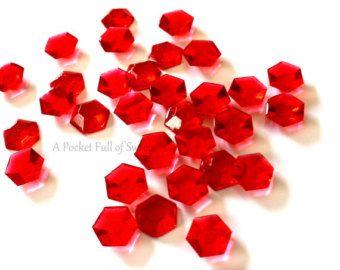 Primeros de la torta comestible, Toppers Cupcake rojo, cristales, piedra roja, decoración de galletas, comestibles piedras preciosas, joyas, diamantes, diamantes comestibles de azúcar