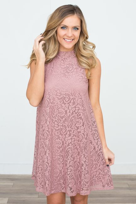 Shop our Mock Neck Sleeveless Lace Dress in Mauve. Free shipping on all US orders!