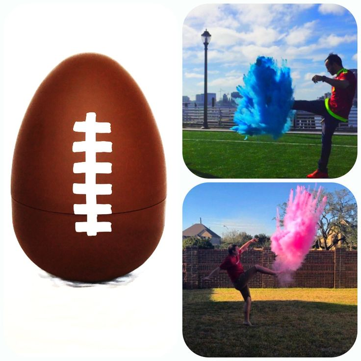 Gender Reveal Football! Filled with the most Powder! Each football is hand made at our house specific for your order. We fill our footballs to the brim with powder to ensure the brightest most colorful cloud to reveal your boy or girl. We Ship Out Next Day. Shipping time is dependent on the op