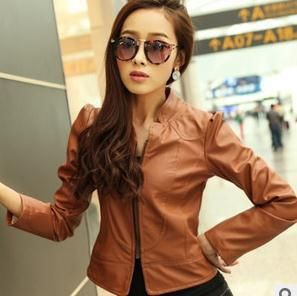 Free shipping 2014 Spring short design slim women's motorcycle leather clothing female water wash PU jacket outerwear