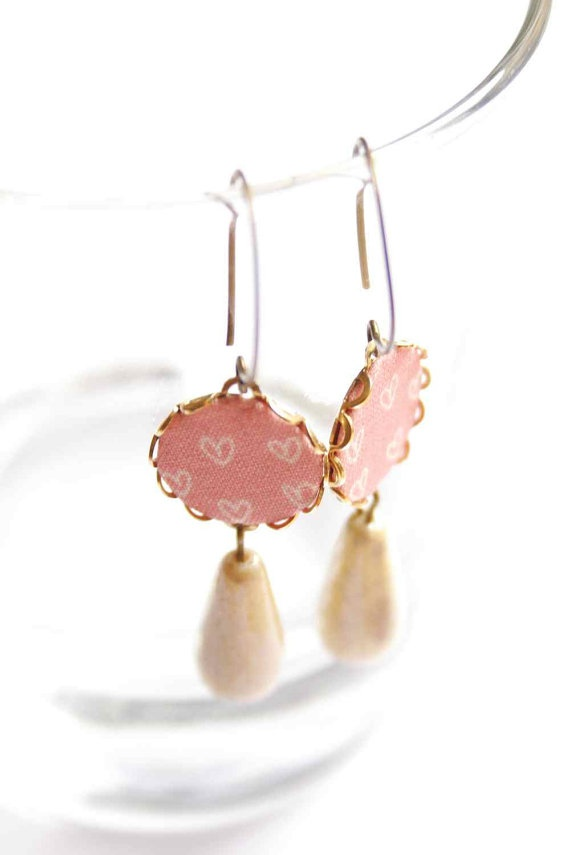 Dangling Earrings in Rose and Ivory with Hearts   Love by vadjutka,Dangle Earrings, Heart Beats