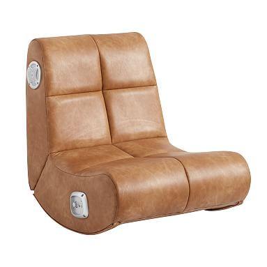 Vegan Leather Caramel Mini Rocker Speaker Chair In 2020