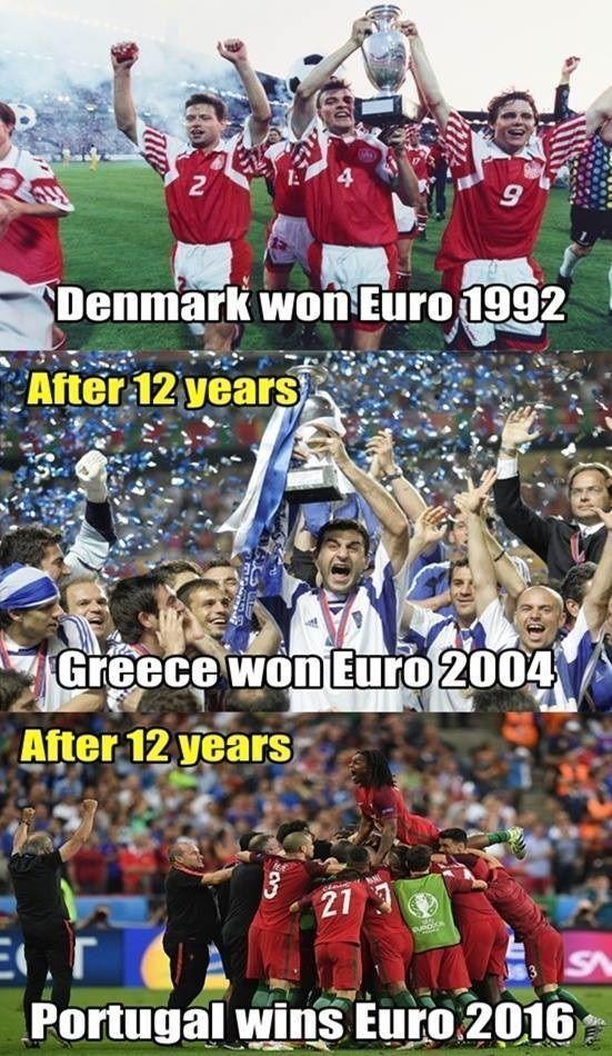Dania wygrała w 1992, Grecja wygrała w 2004, Portugalia wygrała w 2016 • Cuda w Euro zdarzają się co 12 lat • Zobacz memy piłkarskie >> #football #soccer #sports #pilkanozna