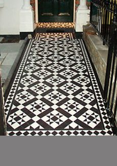 Reproduction Victorian tiling. Traditional black and white check pattern.