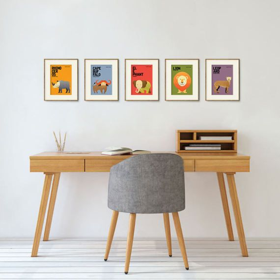 "This is a complete set of Wildlife of Africa, consisting of five 5"" x 7"" prints: RHINOCEROS, CAPE BUFFALO, ELEPHANT, LION and LEOPARD.  Unique, whimsical and minimal with a touch of retro, these prints will appeal to the young and the young-at-heart. They are not only a perfect decoration for the children's room, baby nursery, home and office interiors but also an ideal gift for the animal lover in your life. Gift them as a complete set or separately -- Red Rabbit Republic"