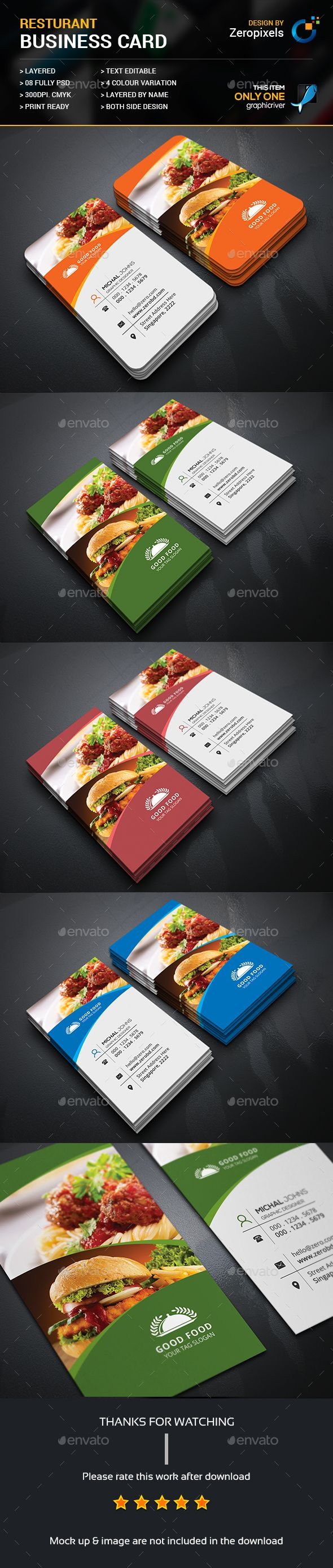 Restaurant Business Card Template PSD. Download here…