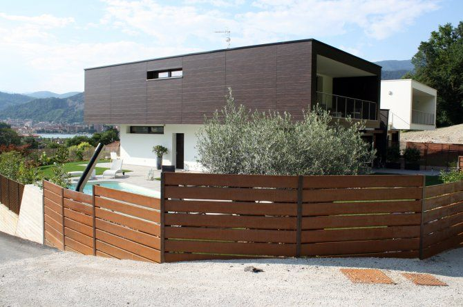 Esterno villa bifamiliare con giardino - progetto ville a Paratico