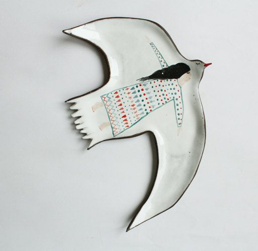 Sleepy Bird and a Girl ceramic plate by clayopera