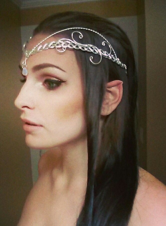 Elf Halloween costume ; DIY elf ears, Arwen Evenstar circlet headpiece with moonstone gem (etsy), blue colored contacts. JRR Tolkien, Middle Earth, Elven, LARP