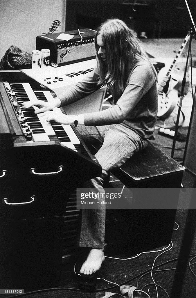 Rick Wakeman of English progressive rock band Yes playing a Hammond organ during recording of the band's 'Fragile' LP at Advision Studios in London, 20th August 1971.