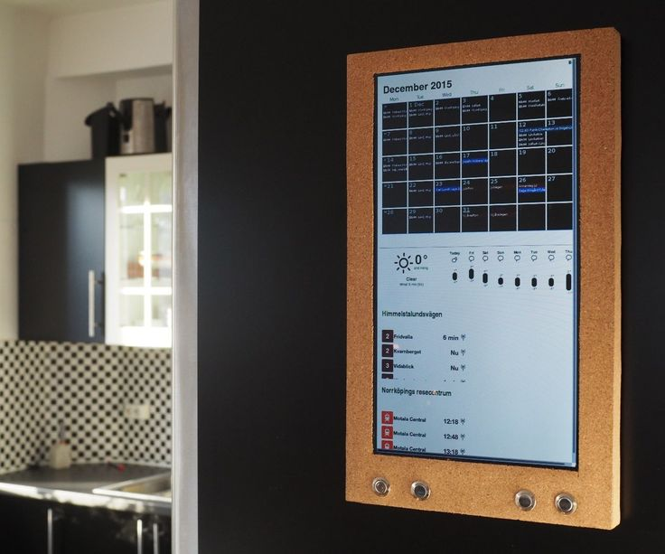 This modern version of the wall mounted calendar includes the same basic functions:      A monthly agenda     Sync of family members activities     Easy browse between months  Beyond those basic functions this gadget will also handle:      A whether forecast     Upcoming events in the surrounding area     Live information about the public transport     And even more...