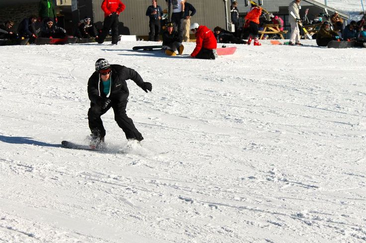 Snow boarding on the Remarkables in Queenstown New Zealand.