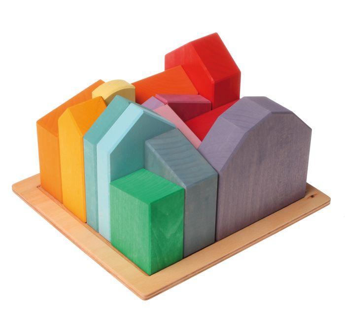 Holzspielzeug | Grimm`s Holzspielzeug | Waldorfspielzeug | Motorikspielzeug | Geburtstagsdeko hier bestellen!-Grimm's Große Häuser- Bauspiel