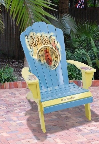 """Fun Colorful Hand Painted Adirondack Chairs ~ Jimmy Buffet Style! """"5 O'Clock Painted Wood Adirondack Margaritaville Deck Beach Chair Outdoor Buffet"""". $279.99"""