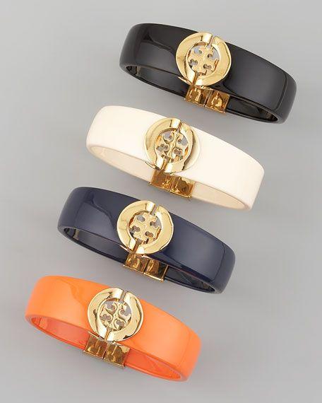 (via Tory Burch Logo-Hinge Enamel Bracelet - Neiman Marcus): Logos Hinges Enamels, Burch Bangles, Burch Logos Hinges, Tory Burch, Burch Bracelets, Enamels Bracelets, Bangles Bracelets, Toryburch, Logos Hinges Bracelets