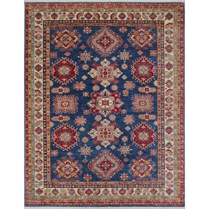 Super Kazak Nazifa Blue/Ivory Rug (7'11 x 10'2), Size 8' x 10' (Wool, Geometric)