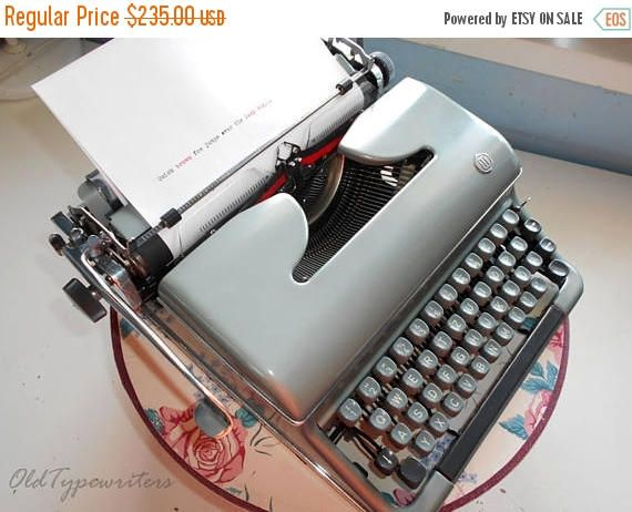 40% SALE Vintage Working Green Manual TORPEDO Typewriter. Very