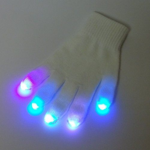 White Rave Gloves - 3 Color Nano LED Glove Set - For Light Shows Rave Party - High Quality Durable by GloFX. $39.97. Includes Two (2) Gloves with LED Finger tips. GloFX Premier Series LED Glove Set. Batteries Included. 10 GloFX NanoLights with Pink, Green, Blue 3-Color Strobe LED Bulbs.. 100% Satisfaction guaranteed! No confusion here- just high quality, ready to use LED glove sets!  All Gloves are tested before shipping.   GloFX Premier Series Glove Sets will blo...