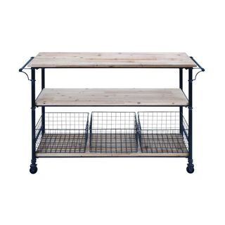 Metal and Wood 3 Basket Utility Cart | Overstock.com Shopping - The Best Deals on Kitchen Carts
