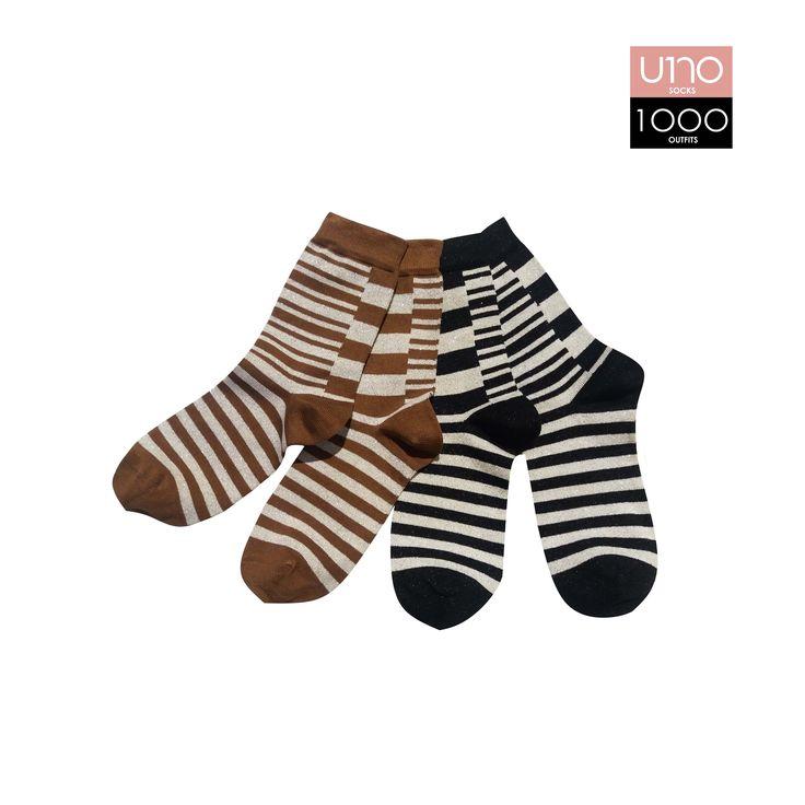Set di 4 calze; caratterizzate da riga a doppia altezza.  Altezza calza: Mezzo polpaccio  Composizione: 72% cotone 22% poliammide 4% poliestere 2% elastane  Colore: Marrone - Panna - Nero  (Lurex) Stagione: Autunno\Inverno  Taglia Unica
