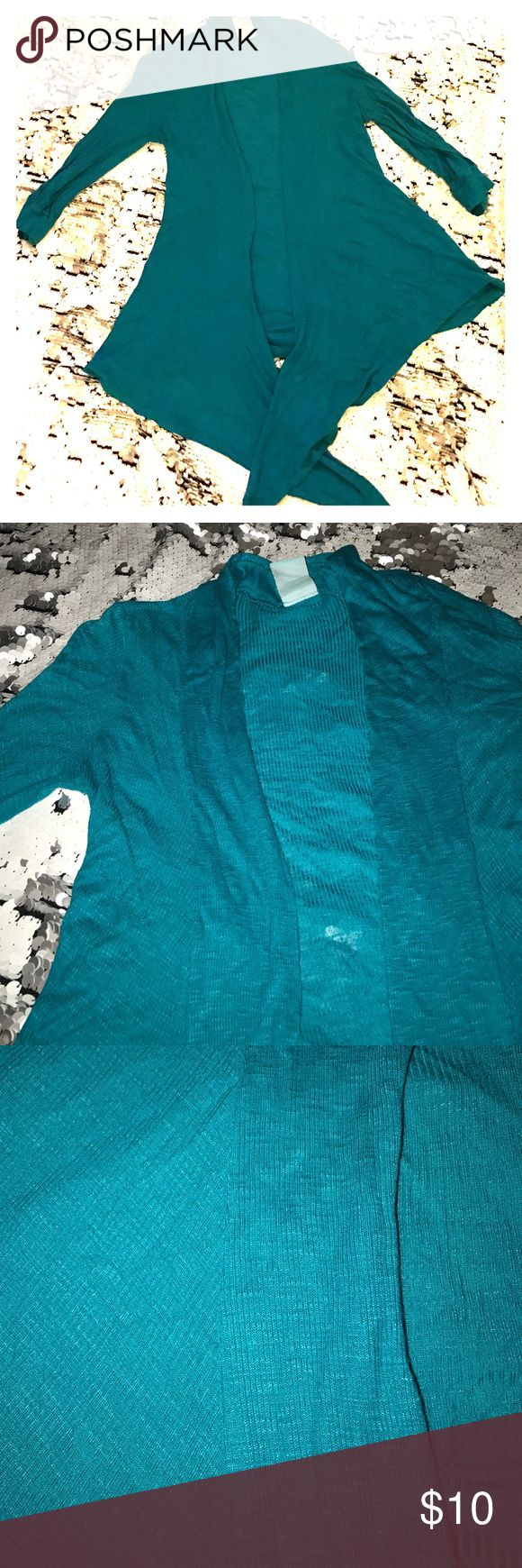 teal cardigan Worn three times. The color is bright in person. Really soft and pretty h.i.p. Sweaters Cardigans