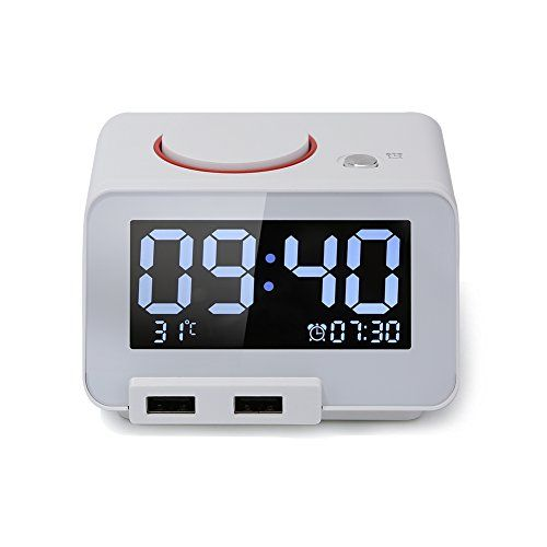 Digital Alarm Clock Alarm Clock for Bedroomswith Battery Backup and Snooze(White)