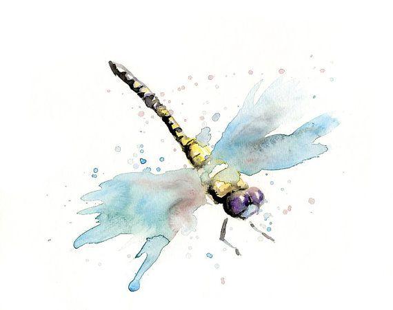 DRAGONFLY by DIMDI Original watercolour painting by dimdi on Etsy, $25.00