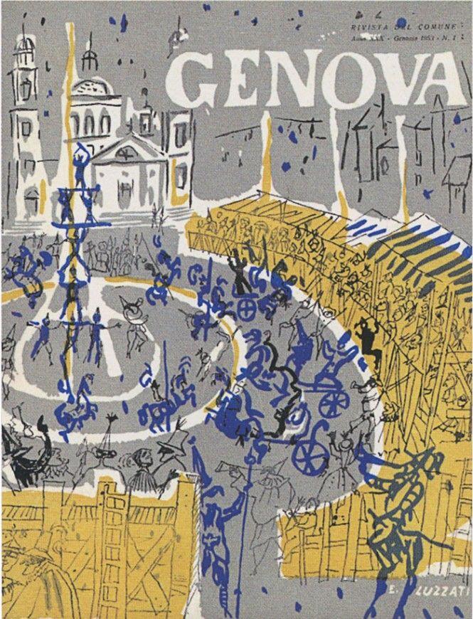Emanuele Luzzati and Genoa - Covers of the Municipality's magazine. www.italianways.com/emanuele-luzzati-genoas-never-ending-surprises/