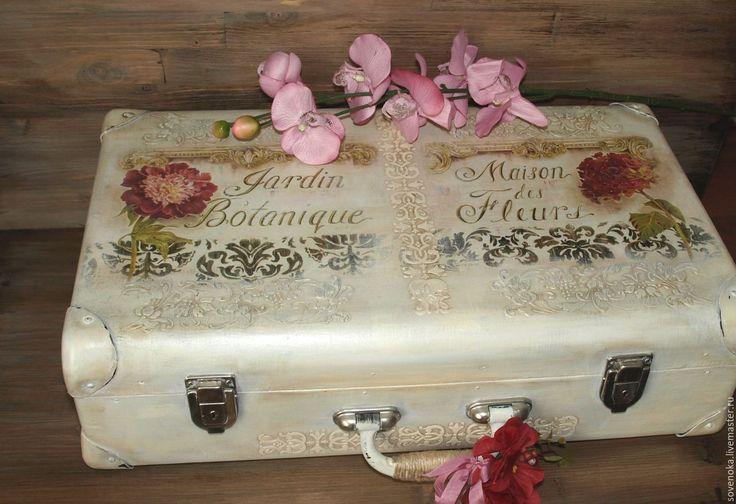 """Купить Чемодан  """"Старинный сад"""" - цветочный, белый, чемодан, чемоданчик, винтажный стиль, винтаж"""