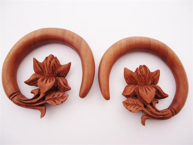 Wood Lotus Flower Hooks (8 gauge - 1/2 inch)