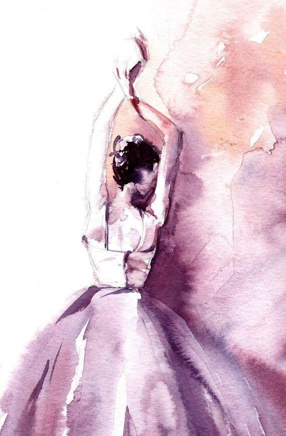 Aquarelle de ballerine Aquarelle originale Ballerine en violet Ballet moderne aquarelle Art  Lun dune œuvre dart nature  Echelle : 9x11.5 (23x29cm)