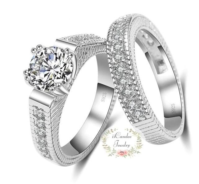 Cubic Zirconia Sterling Silver Engagement Ring Bridal Set In 2020 Womens Engagement Rings Engagement Rings Bridal Sets Sterling Silver Engagement Rings