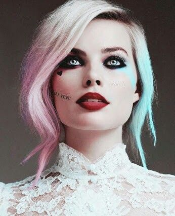 Harley Make-up here. Put on as a beauty make-up, then grunge it up after for the movie look?
